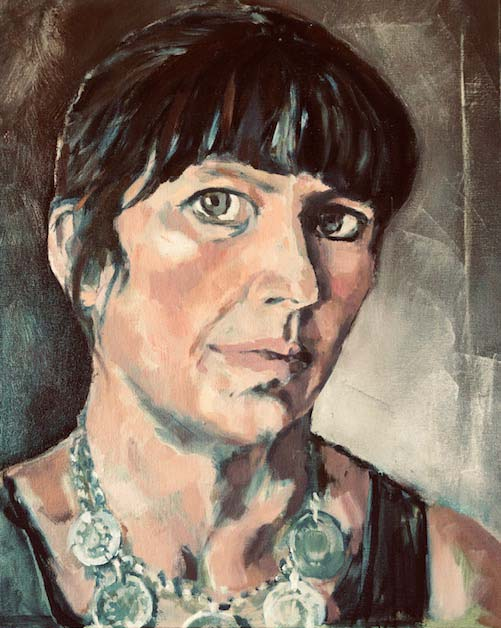 A rectangular Oil painting representational self-portrait of and by Nina Packer, head and shoulders taking up most of the canvas, she has dark hair pinned up with a grey stripe in the fringe, with an antique silver ottoman coin necklace. Painted from life the colours are muted, the brush strokes loose and she looks out of the canvas directly at the viewer.