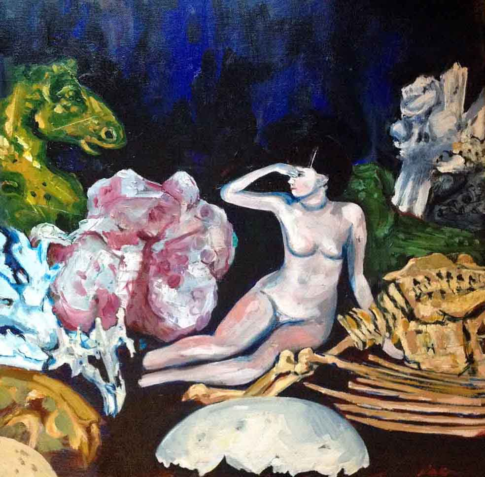 Square painting of a collection of objects: a china naked Edwardian china doll with broken feet sits on her side with one hand shading her eyes looking to the left towards a yellow brass horse head, they are surrounded by natural objects, pale pink coral, white and green crystal, a small shrew skull and the remains of a bird skeleton with wings. Half a large white broken egg shell sits in the foreground at her feet. The background is dark indigo with areas of dark sapphire blue. The doll appears to be life like.