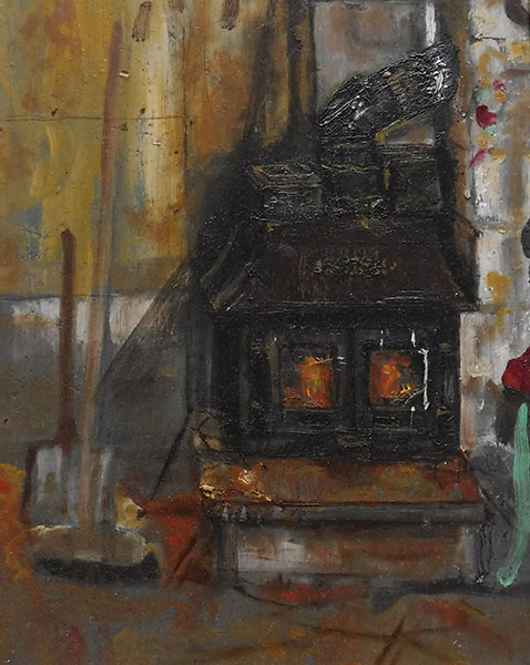 A small rectangular painting of a wood burning stove set in a workshop interior; the 'Villager' stove is lit and you can see the flames through the glass panes, one of which is cracked on the corner, it is set up on a concrete plinth next to a blockwork section of wall, there are heavy black iron weights on the top either side of the flue. The room is dusty and cosy, and a broom leans against the wall with a pile of red dust and wood shavings and a shovel, the ornate decoration on the stove is picked out in the flickering fire light. The craftsman is working at the bench, just out of sight - a tiny piece of his green metal chair leg is visible to the right.