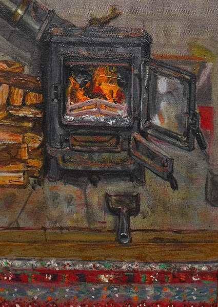 A rectangular oil painting of a lit wood burning stove by Nina Packer. The stove, a small black Morso Squirrel, has both doors open and the fire it lit and roaring, a little of the surround is visible, painting loosely in greays and the stove pipe is disappearing diagonally into the top left corner, there is a pile of stacked wood to the left and an ash shovel facing the fire, a small section of Turkish carpet in red tones stretches across the bottom half of the picture in front of the hearth