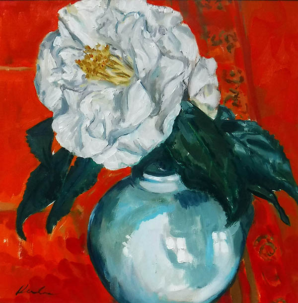a square painting of a single white camellia flower in a simple, round Celadon vase, painted with large loose brush strokes, set againast a bright vermillion red and carmine background tablecloth