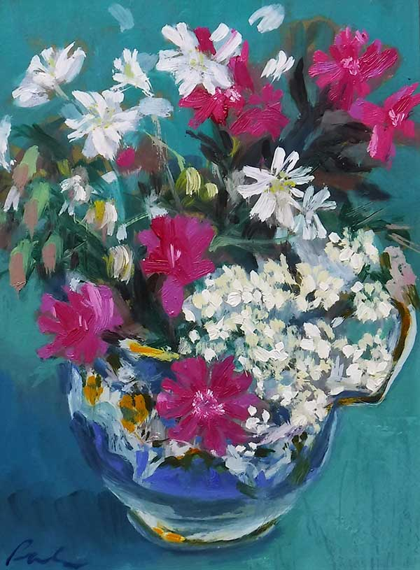 A small rectangular oil painting of wild flower by Nina Packer; the format is portrait, a small blue and white china cup filled with pink campions, white stitchwort and blossoms from a head of cow parsley. Painted loosely against a turquoise background, the flowers and cup take up most of the picture.