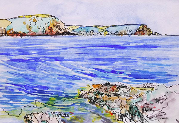 Landscape format watercolour and ink drawing of a view across the sea to Nare head and The Dodman, on the Roseland Peninsula, Cornwall. There are rocks in the foreground, the sea is still but you can see the darker blue of the currents in the water, and the sun shining on the surface. It is a bright, beautiful day.