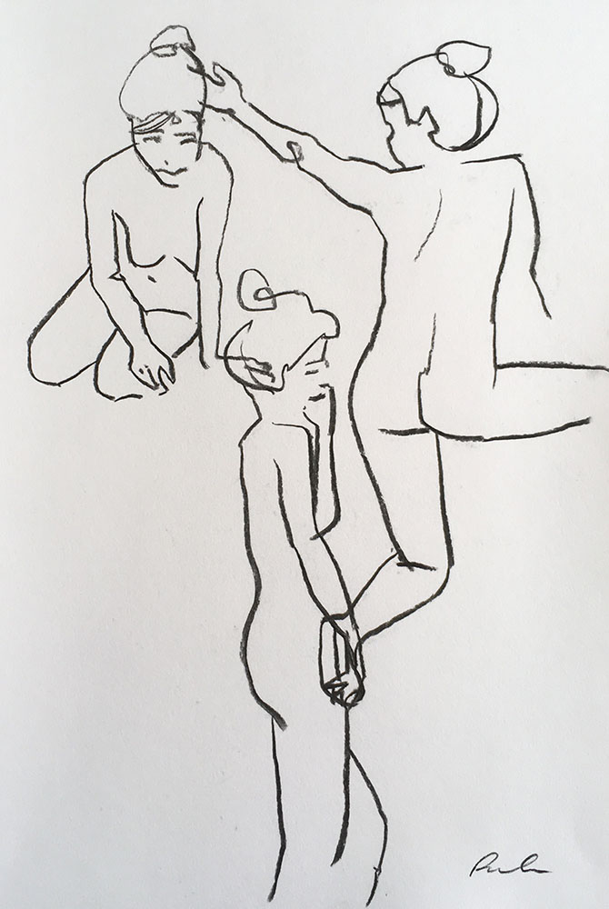 Portrait format with three charcoal line drawing female life drawing figures by Nina Packer, the figures are drawn from quick five minute poses: one standing to the side, one with her back to us and one kneeling.