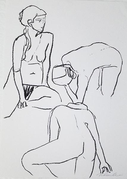 Portrait format with three charcoal line drawing female life drawing figures by Nina Packer, the figures are drawn from quick five minute poses: one seated, one with her back to us and one kneeling.