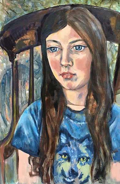 A portrait format oil painting of a girl of 10 years old, she is sat upright in a wooden chaor, her hair is down and she is looking out slightly to the left of the picture. A wolf stares out of the front of her t-shirt, there is a shadowy dragon in the background behind the chair, and the suggestion of green leaves of a forest about the chair. The picture is painted mostly in blue tones, with a dark brown wooden chair and dark brown hair.