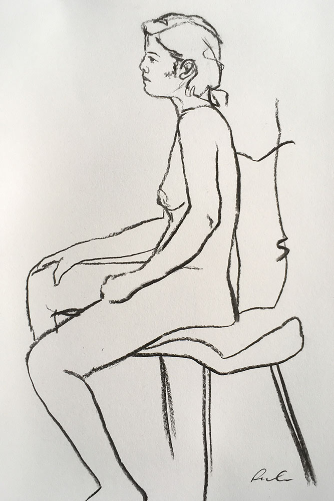 Portrait format charcoal line drawing on paper of female life study by Nina Packer, she is sat on a chair and viewed from the side, the drawing has been done quickly, the first mark laid down the last.