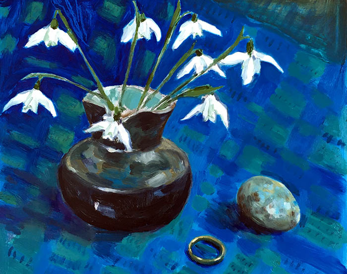 A landscape format oil on board painting by Nina Packer, of snowdrops in a black lustre ware milk jug with pale blue inner glaze. the jug sits on a fabric cloth loosely painted in Windsor blue green shade, there is a blackbird egg and a gold wedding band next to them. Snowdrops are for hope in the language of flowers, picked from the hedges in this most difficult of Januarys.