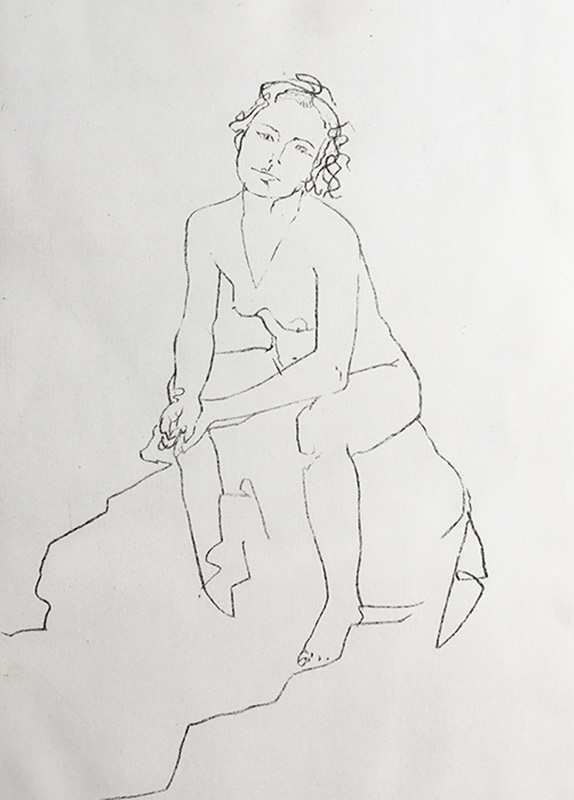 A portrait format line etching of a nude woman, she is seated looking towards us, with her hands clasped and resting on her knees