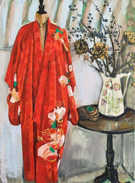 A portrait format painting of a red antique silk kimono on a a dress makers form, the robe has white fan motifs with gold embroidery, there is a round dark wood table next to it, with a large white jug on it, with branches of blackthorn covered with sloes, there is a blackbirds nest on the table next to it.