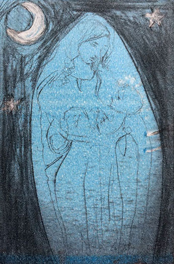 A tiny rectangular coloured drypoint print of the Madonna and child, she is in pink, with dark around her and a child in her arms.