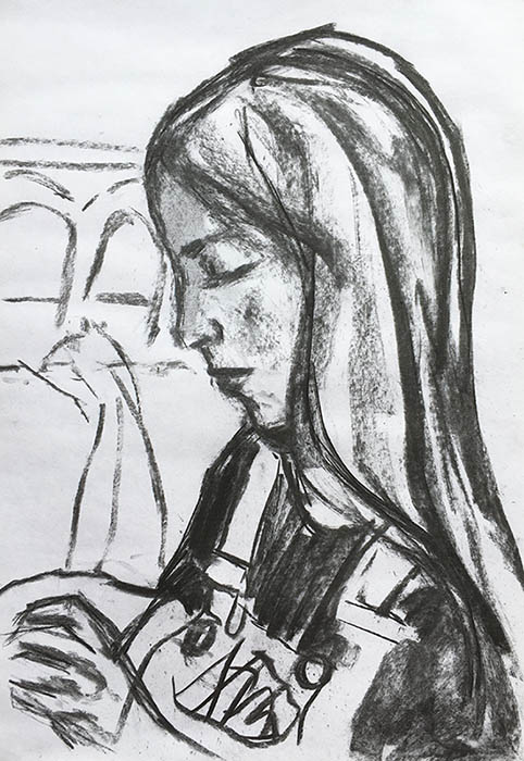 A portrait format drawing in charcoal on the artists daughter, we see her from the side, head and shoulder, and she is sewing.