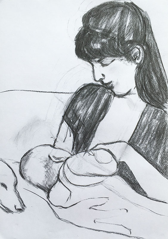 A portrait format charcoal drawing of a mother feeding her baby, the mother has long dark hair and is very beautiful, the baby has his back to us, there is a whippet on the sofa next to them.