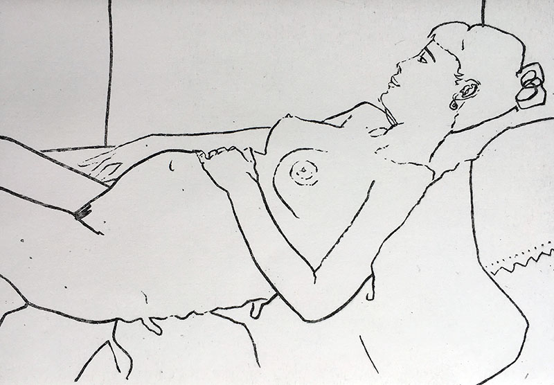 A landscape format etching of a pregnant woman, viewed from the side, she is reclining and looking out of a window, with one hand on her tummy,