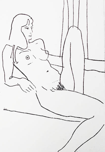 A portrait format line etching of a nude woman, she is seated looking to the side, she leans back on her elbows