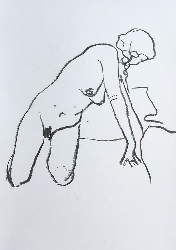 A portrait format line figure life drawing in charcoal by Nina Packer, the female model is kneeling and twisting to the side, the lines are quickly drawn and simple.