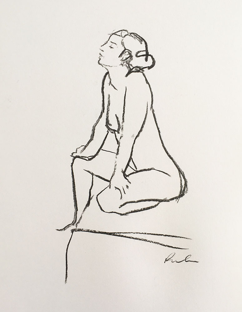 A portrait format line figure life drawing in charcoal by Nina Packer, the female model is kneeling and stretching, one hand touches the floor, the other behind her stretched to the sky, the lines are quickly drawn and simple.