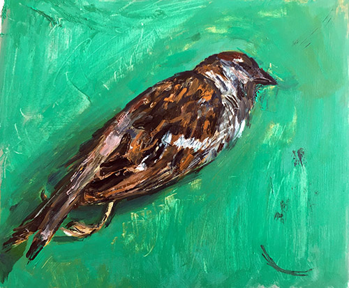 A landscape format oil painting by Nina Packer of a dead sparrow on an emerald green background, painted in loose brushstrokes, the bird is positioned diagonally in the picture.