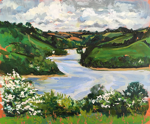 A landscape format oil painting by Nina Packer of the Percuil river at high tide, with blackthorn blossom in the hedgerows and a cloudy skies.