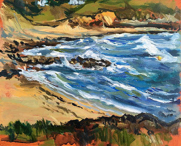 A landscape format by Nina Packer painted in oil of the view to Porthcurnich from Portscatho harbour, the sea is fierce with large white capped waves, it is painted in loose expressive brushstrokes.