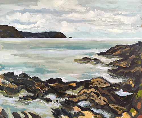 A landscape format oil painting by Nina Packer, painted looking over the sea to The Dodman and Gull Rock, the skies and sea are silver grey and there are rocks in the foreground, it is painted in loose brushstrokes.